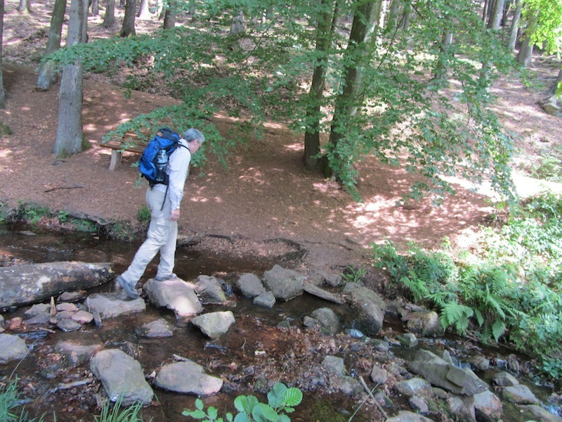 """Easy Hiker crossing by stones on Saar-Hunsruecksteig hiking trail in Germany"""