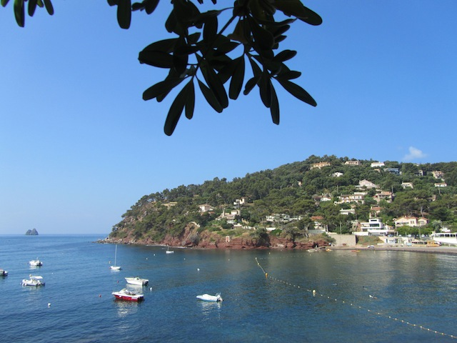 """View of the marina from the hiking trail along the French coastline"""