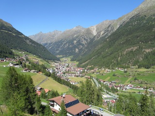 """Village of Soelden seen from Gaislachkogl in Austria"""