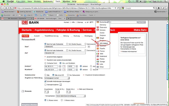 """Deutsche Bahn online ticket booking window for choice of language in getting cheapest train tickets in Germany for you"""