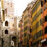 """Street leading up to Porta Soprana in Genoa"""