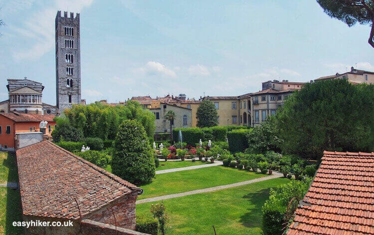 """historical buildings on the Walk Along the Lucca Wall"""