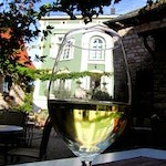 """A glass of riesling from the Palatinate Germany"""