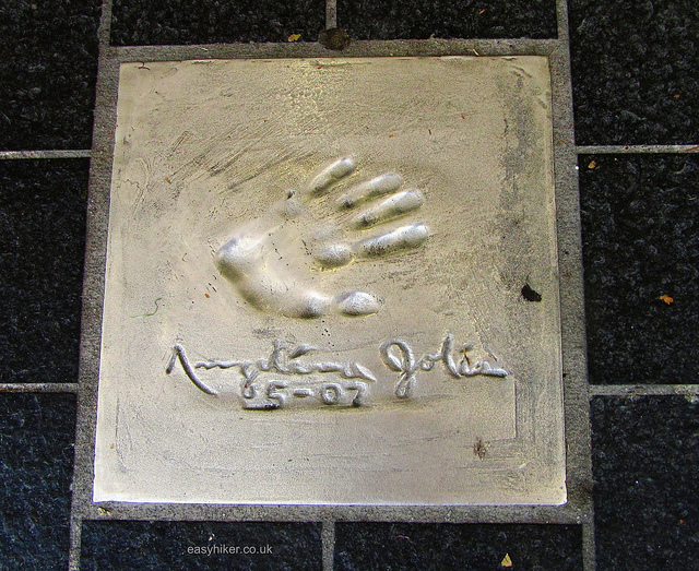 """Hand print of Angelina Jolie on a sidewalk in Cannes"""