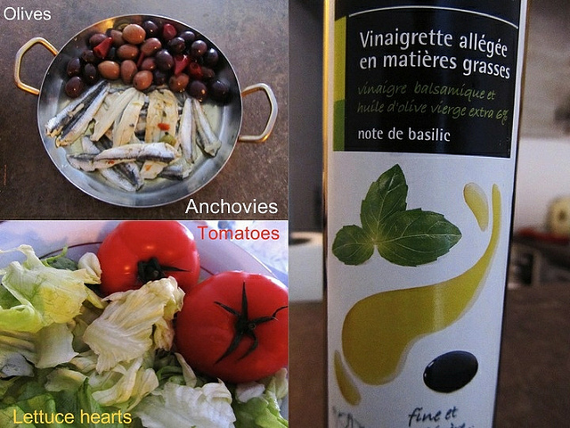 """Ingredients for a salad nicoise at home"""