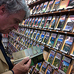 """""""Easy Hiker reviewing a hiking guide book"""""""