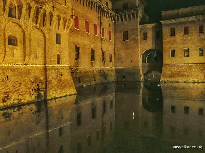 """moat of Castello Estense - journey through Emilia Romagna"""