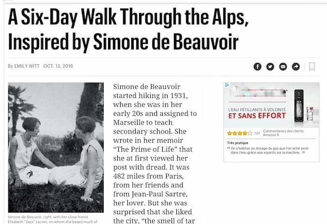 """Tips for your Travel Adventures for 2017 from Simone de Beauvoir"""