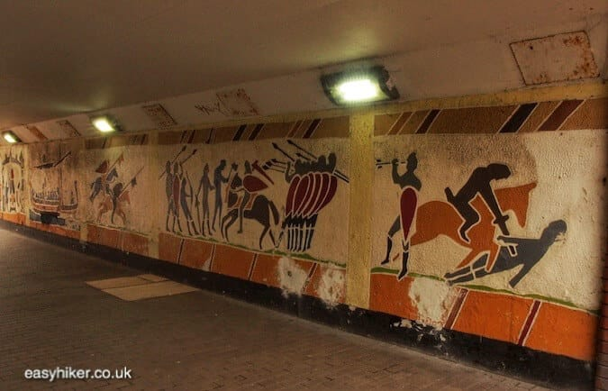"""wall paintings depicting Battle of Hastings along the Sussex Coastal Cultural Trail"""