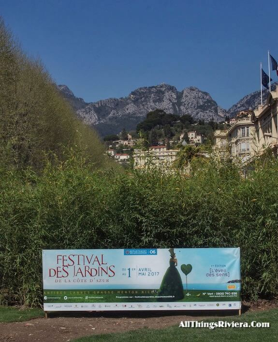 """Sign announcing the Very First French Riviera Garden Festival"""