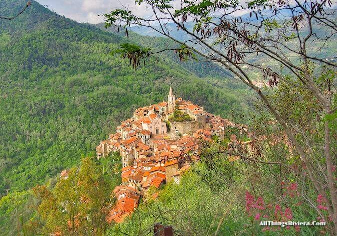 """view of Apricale from a lovely spring hike"""