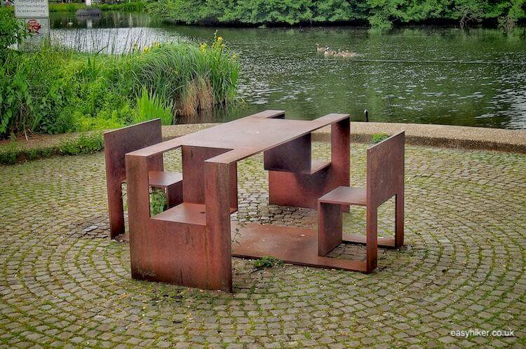 """seating by the lake in Marl - Modern Sculpture in Public Spaces"""