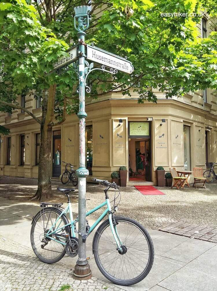 """parked bike in a street where you can find the spirit of Bohemian Berlin"""