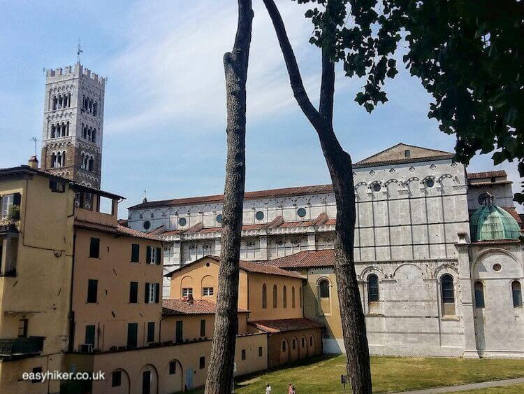 """historic buildings along the Walk Along the Lucca Wall"""