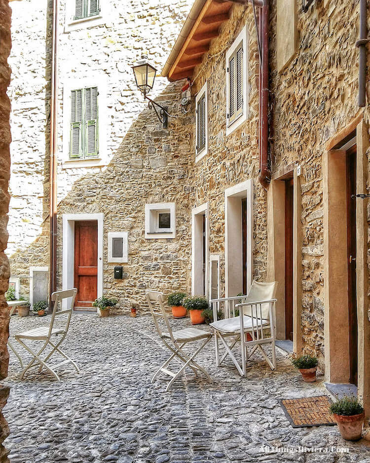 """courtyard in Castel Vittorio - easiest of easy hikes in Liguria"""