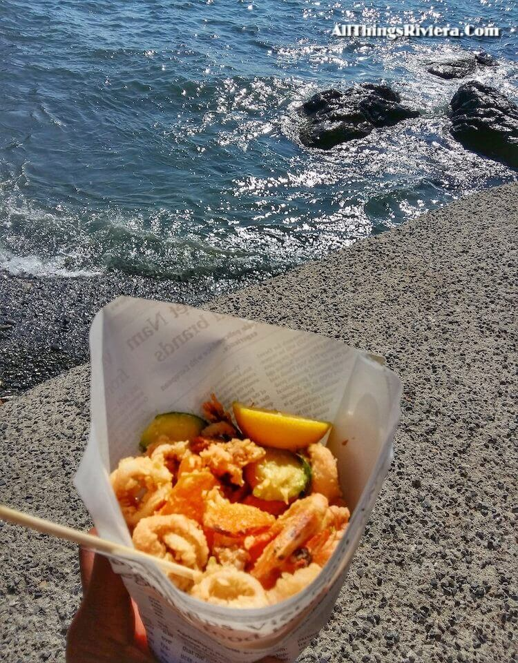 """""""bagful of fried seafood in Boccadasse"""""""