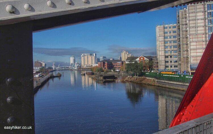 """on bridge above Irwell River - Glory of Manchester Past Along Its Canals"""